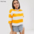 KY 100%cotton wholesale Crew neck Dropped shoulders stripe DESIGN crop oversized tshirt woman
