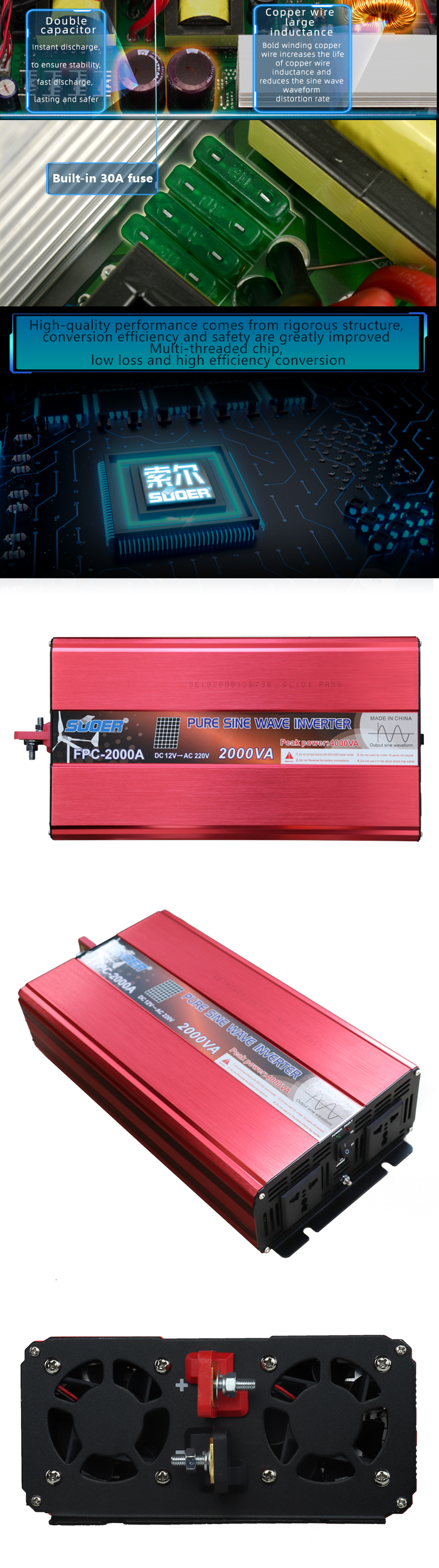 Suoer multiple protection 12V 220V 2000 watt Pure Sine Wave Inverter with USB charging interface