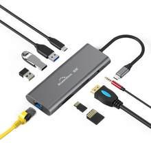 5 в 1/7 в 1/9 в 1/10 в 1 Тип C док-станция для ноутбука USB 3,0 HDMI TF LAN PD USB концентратор для Macbook Huawei XiaoMi DELL Surface(Китай)