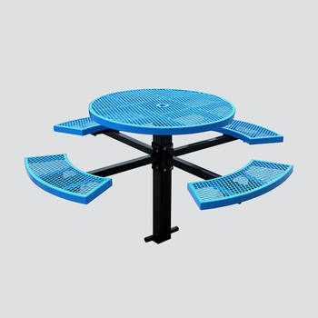 in ground pedestal picnic table with chair