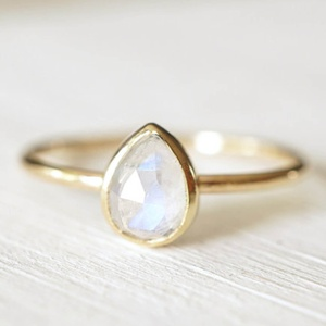 Pear Moonstone engagement Ring 18k gold Silver Ring Natural Gemstone Jewelry