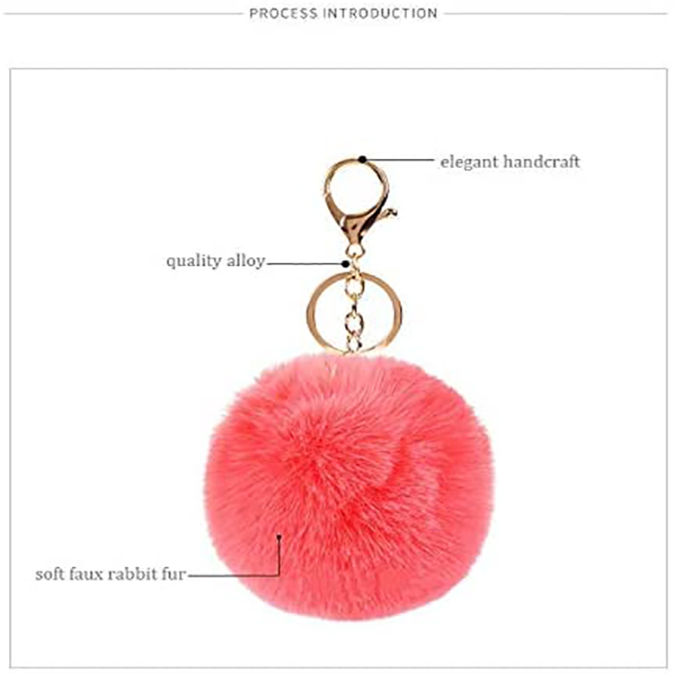 Fluffy Fashion Bags Keychain Colorful Pom Pom Keychain Set