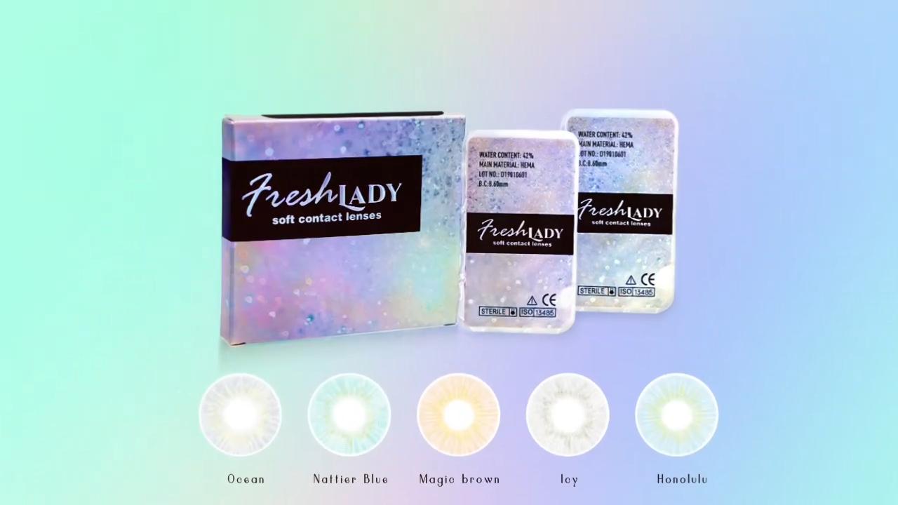 FreshLady prix de gros lentilles bleu lentilles de contact colorées