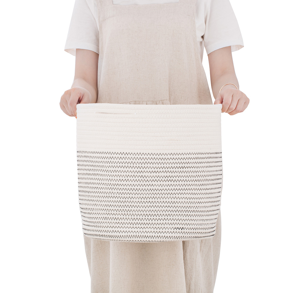 High Quality Natural woven Cotton Rope Folding <strong>Bathroom</strong> <strong>Storage</strong> <strong>Basket</strong> Planting Cotton Rope <strong>basket</strong>
