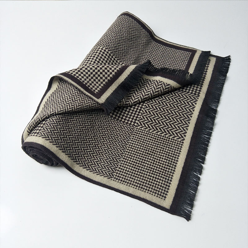 Winter new cashmere-like scarf male long jacquard geometric pattern double-sided warm scarf wholesale