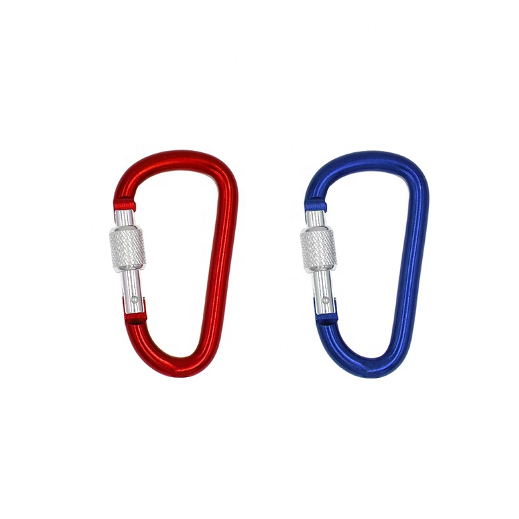 Aluminum Alloy D Screw Lock Carabiner Clip Key Chain Aluminum D Shape Bottle Hanging Clip <strong>Hook</strong>