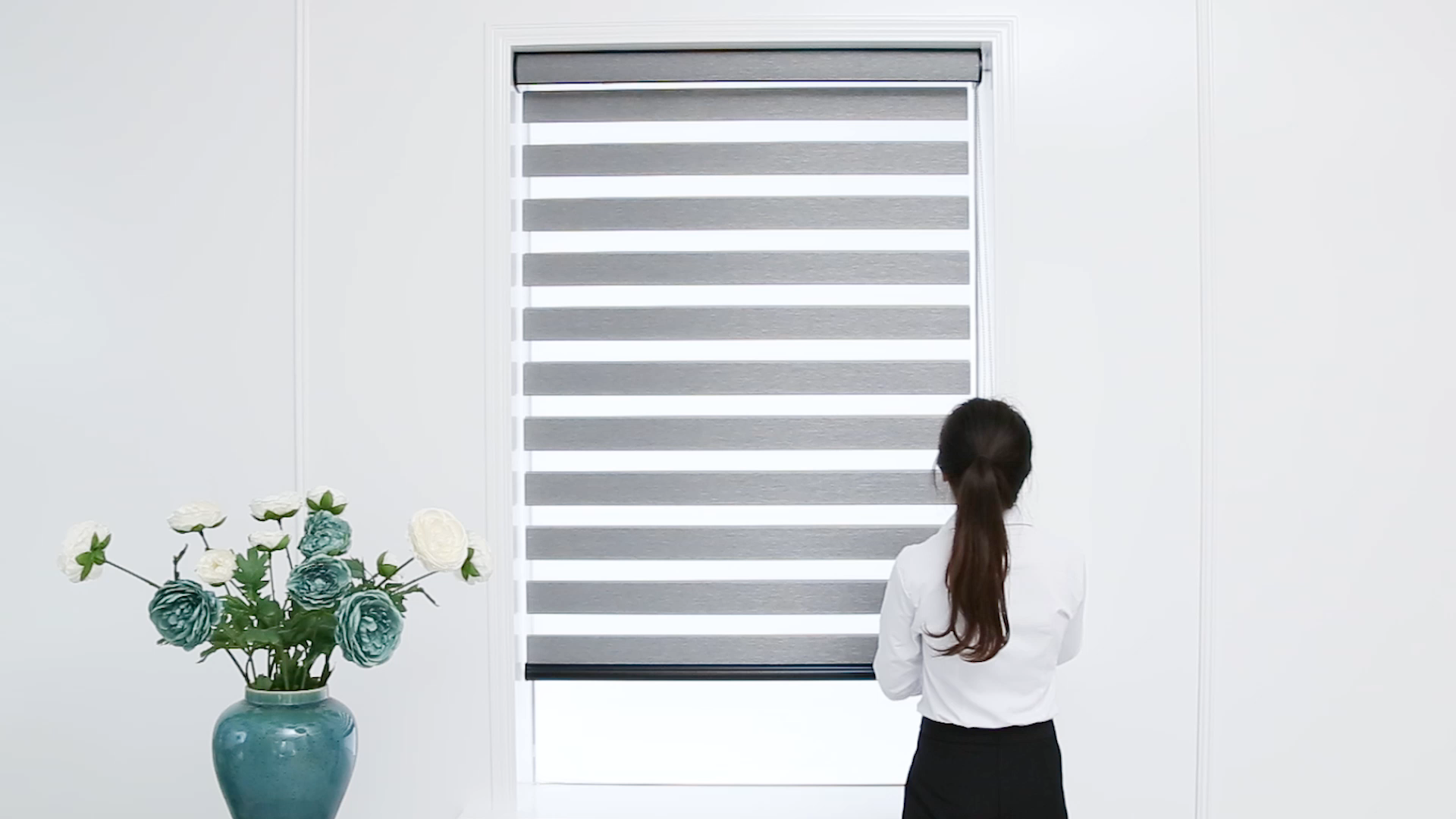 south korea gray color zebra fabric 100% polyester  zebra blinds