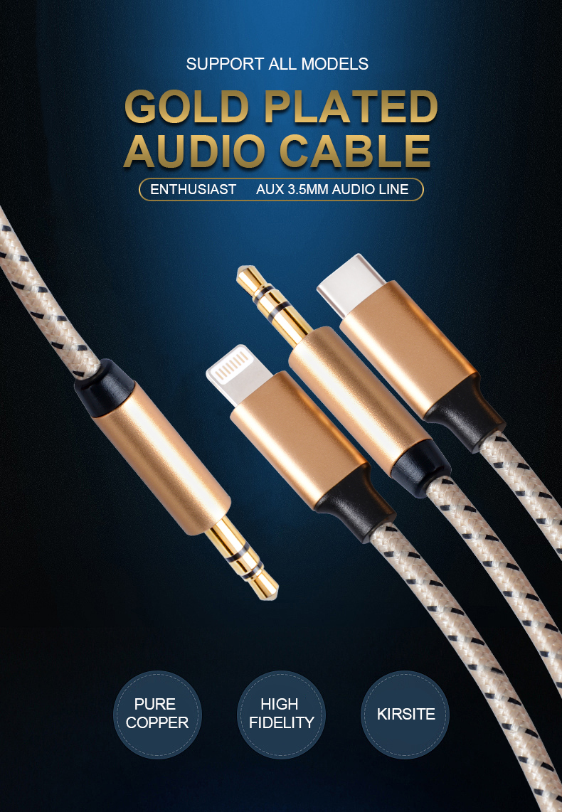 3.5mm AUX Headphones Adapter cable 3.5 Audio to  iPhone Type C 3.5 Audio Type C Audio cable 3 in 13.5 AUX cable