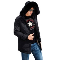 2019 Hot sale best windbreaker padded down winter military fox fur hooded long style black custom mens parka fur parka coat