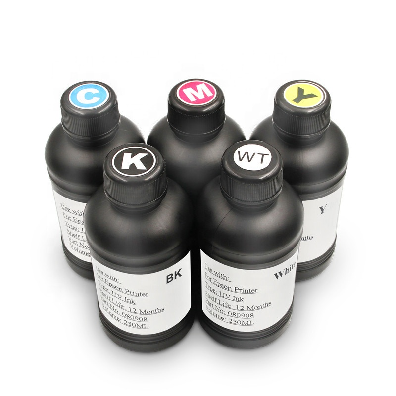 OCBESTJET LED UV Ink 250ML Ink UV For Epson L1800 1390 L800 1400 1410 1430 1500W R280 R290 R330 UV LED Printer (BK C M Y White)