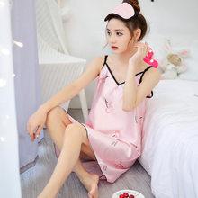 Norns, шелковое атласное сексуальное платье с лямкой на шее, короткое, без рукавов, на бретелях, ночное, женское платье, ночной халат-Пижама, одн...(Китай)