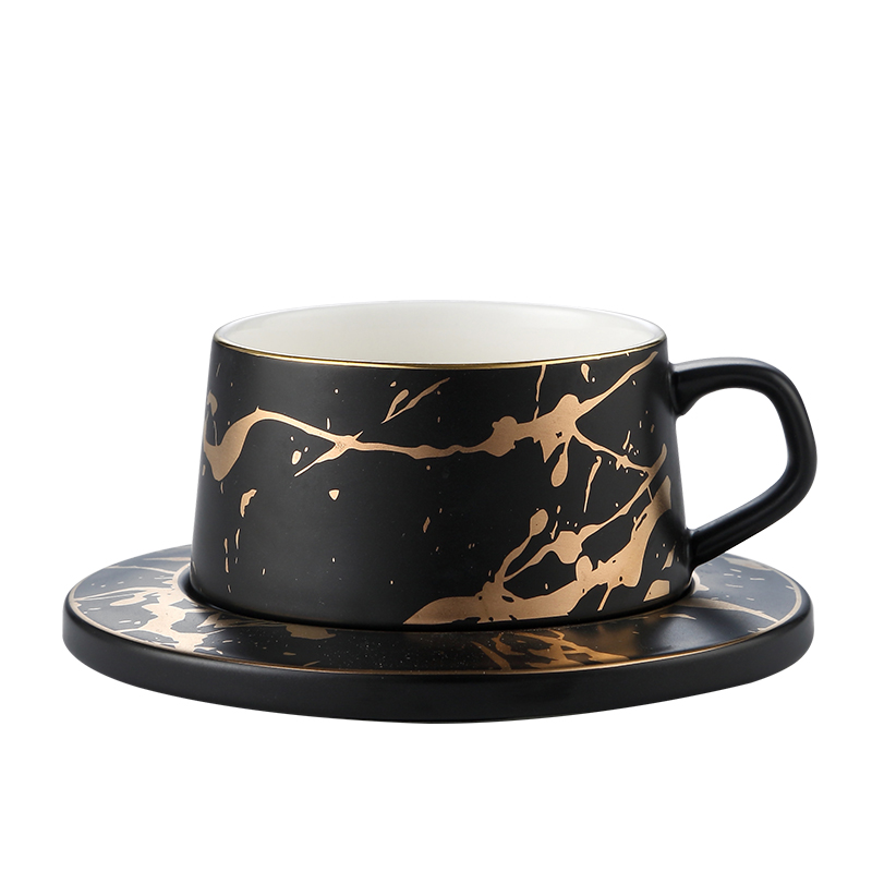 A05-1 Wholesale Ceramic <strong>Tea</strong> Cup Saucer with Black White Color Household China
