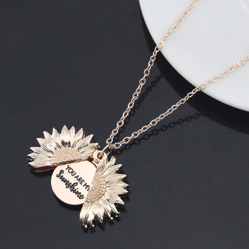 Drop Shipping New Women Gold Necklace Custom You are my sunshine Open Locket Sunflower Pendant Necklace