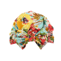 Cute Stylish Soft Lightweight Jersey Knit Fancy Floral Print Bow Knot Children Baby Girl Turban Hijab Caps Hat for Baby