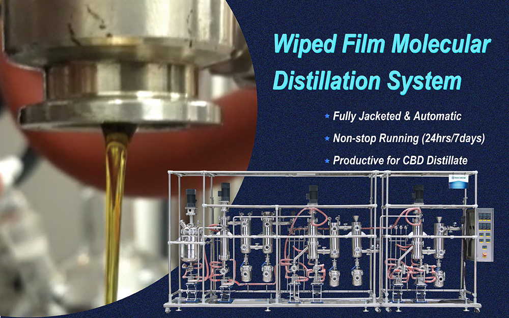 "YHCHEM newest stainless steel 12"" multi stage molecular distillation machine wiped film evaporator for CBD distillate"