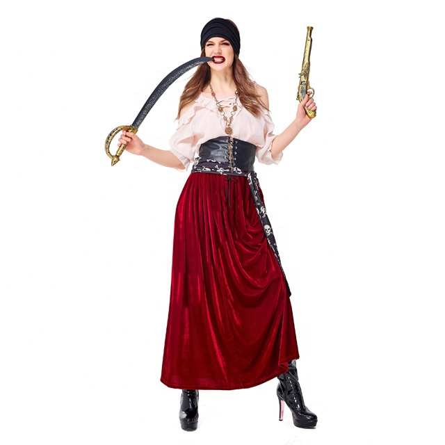 New design fat women sexy pirate fancy dress costume and handsome men pirate halloween cosplay costume