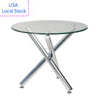 Free Shipping USA Local Stock sent to US Modern Design Round Shape Chromed Legs Tempered Glass dinning table