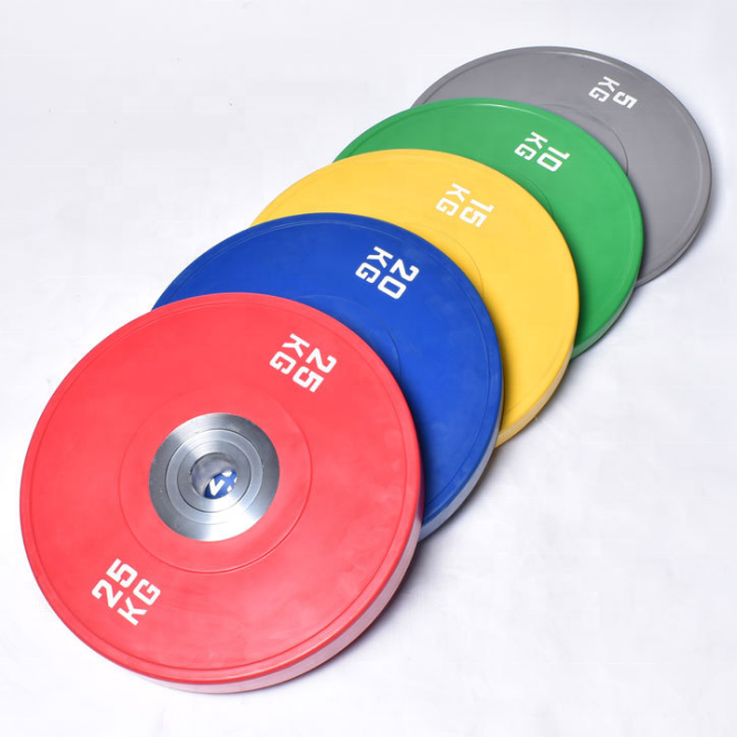 Wholesale <strong>Weight</strong> lifting Colorful Chrome Competition Rubber Barell Bumper Plate