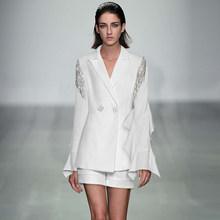 Женский блейзер с блестками и кисточками, короткий пиджак с длинным рукавом, высокое качество, роскошный брендовый дизайнерский белый комп...(Китай)