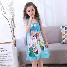 Детская одежда для дома; Платье Анны и Эльзы; Ночная рубашка для девочек; Летняя ночная рубашка с героями мультфильмов; Детская одежда; Пижам...(Китай)