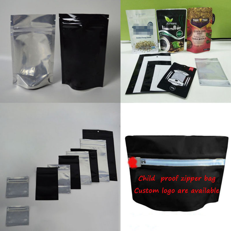 Custom Design 3.5g 1/8oz Mylar CR Ziplock Packing Exit Double Child Resistant Zipper Pouch Lock Plastic Silver Bags With Window
