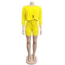 Спортивный костюм Echoine Женский комплект 2 шт., шорты с завязками спереди, укороченный топ + штаны, летняя одежда для женщин, 3 однотонных цвета(Китай)