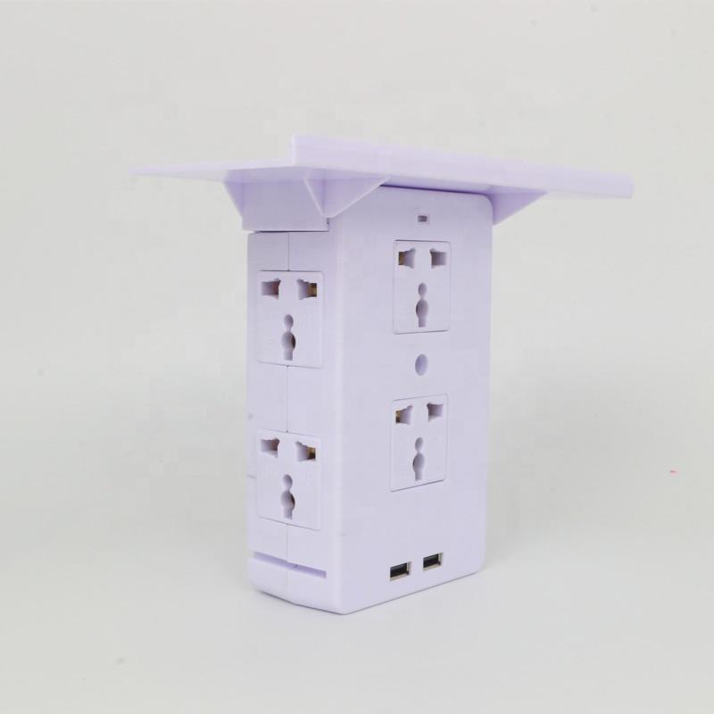 Quatro-em-um soquete Tomada Prateleira Rack 6 Tomada Elétrica 2 Extensores USB Cobrando Portas Removíveis Prateleira Embutida