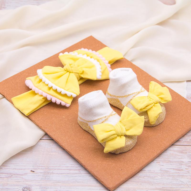 ขายร้อนทารกแรกเกิดแฟนซีลูกไม้ Bowknot Headband และถุงเท้าเด็กชุดของขวัญ
