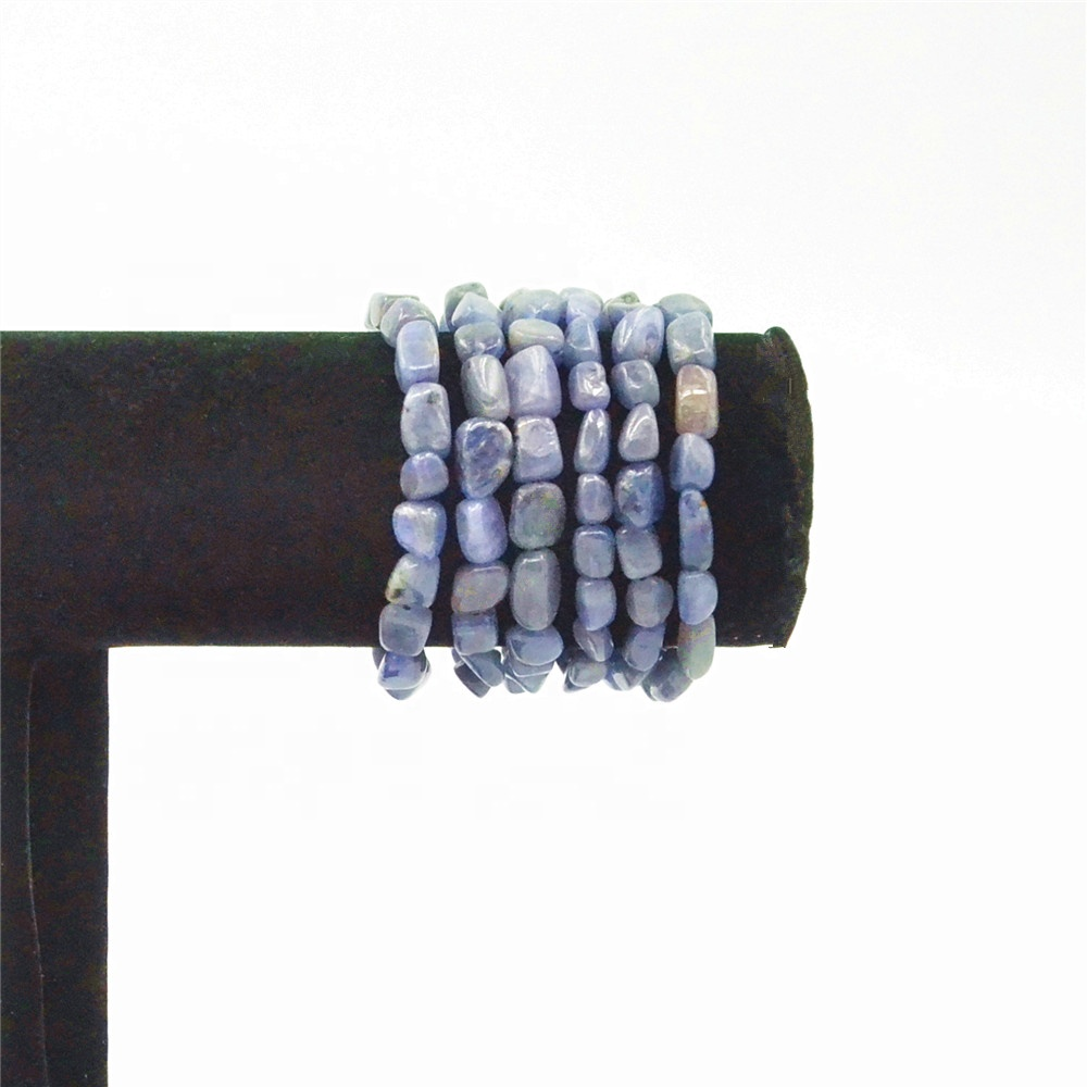 Natural Semi-Precious Stone Jewelry Polished Tanzanite Tumbled Round Shape Chips Beads Bracelet for Girl Women Healing Chakra