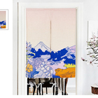 wholesale custom Japanese kitchen dining room linen cotton printing door curtain