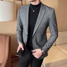 Повседневное Блейзер Masculino для сцены Свадебные мужская одежда куртка Veste Homme 2020 британский стиль Для мужчин Блейзер пиджак в клетку(Китай)