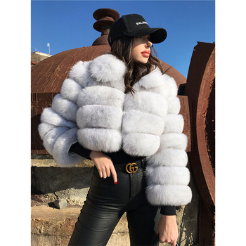Europe And American Hot Selling Fur Plush Women's Coat Imitation Fox Fur Splicing Short Lapel Long Sleeve women's Winter Wear