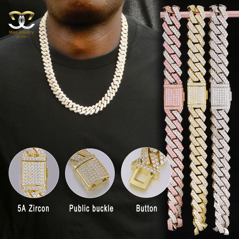 Miss Jewelry Hip Hop 14k 18k Gold Plated Stainless Steel Mens CZ Diamond Necklace Iced Out Tennis Chain