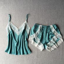 Женское белье, пижамные комплекты, сексуальные кружевные пижамы для женщин с v-образным вырезом, шелковые пижамы, атласные пижамы, милый топ ...(Китай)
