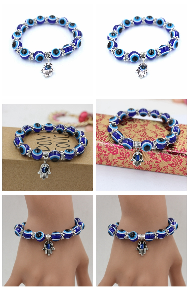 2019 wholesale India high quality trendy stackable hamsa evil eye gold plated charms lucky bracelets for girls