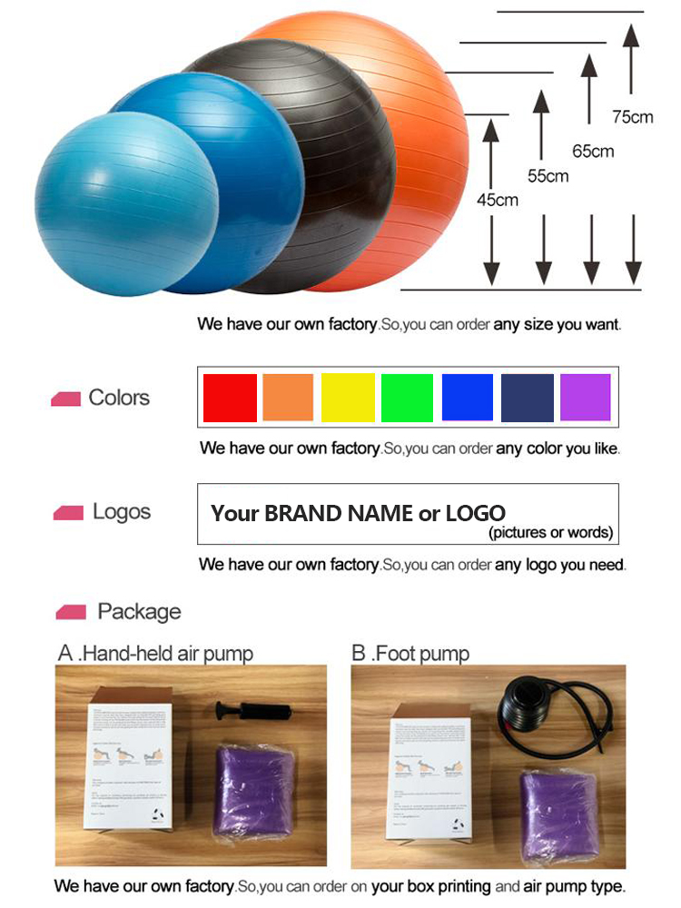 Custom Anti Burst Inflatable Eco-friendly Yoga  Ball Exercise Ball with Pump