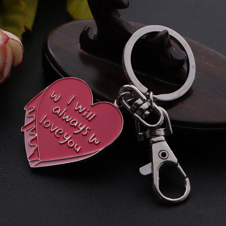 Custom cute pink key shape woman love key keychain for girls