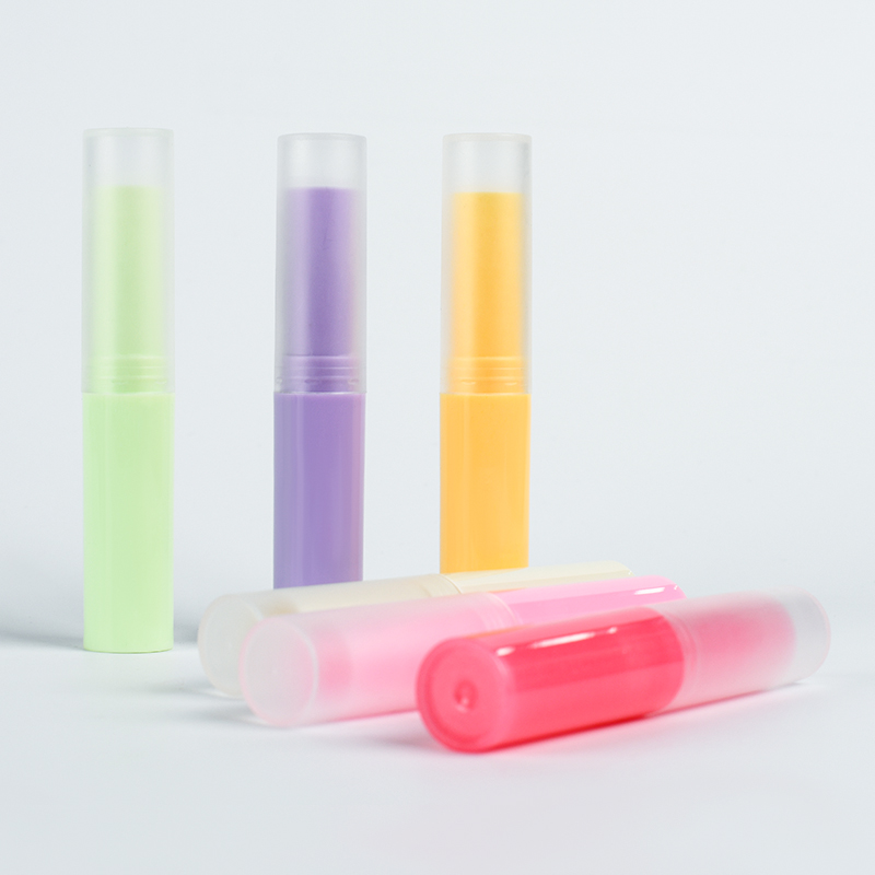wholesale empty round lipstick container clear pink yellow colorful 3ml 5ml cosmetic lip gloss tube