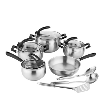 Wholesale Amazon Chinese Hot Selling Kitchenware 12Pcs Stainless Steel Cooking Pots And Pans Cookware Pot Set With Kitchenware