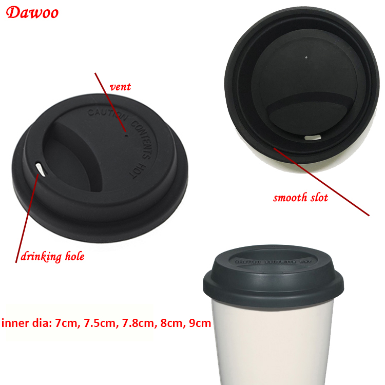 Universal coffee cup lid reusable,  FDA 9cm Coffee cup silicone lid