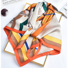 Silk Custom New Design Fashion Gift Digital Subtle Printed Square 100% Real Silk Scarf For Women