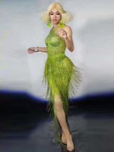 Модное Длинное платье без рукавов с бахромой зеленое женское вечернее платье с бахромой для дня рождения вечеринки ночного клуба сцены для ...(Китай)