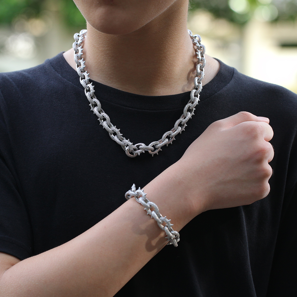 product-BEYALY-Hip Hop Rivet O Chain Necklace Metallic Punk Mens Zircon Choker-img-1