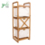 Free Standing 100% Bamboo Bathroom Multifunctional Towel Corner Shelf With 3 Tiers Storage Organizer