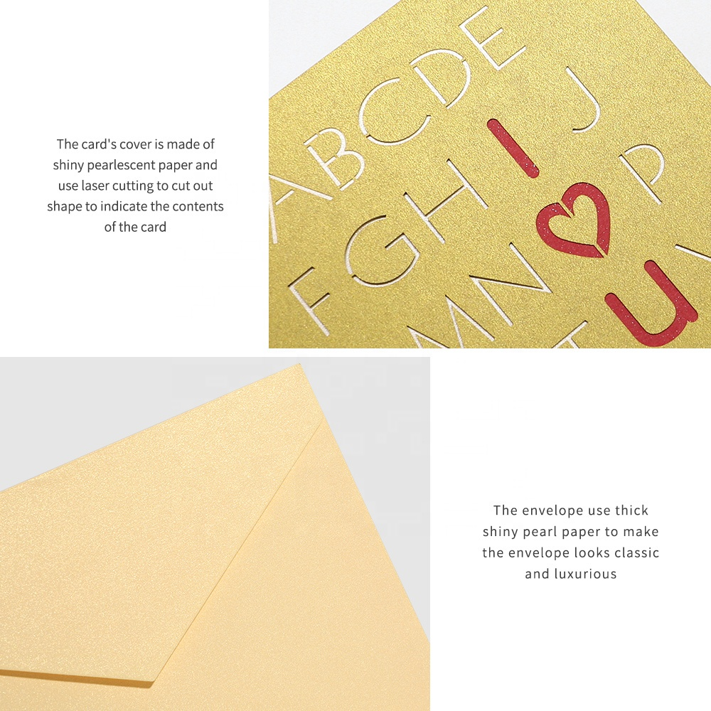 Custom Funny Handmade Happy Valentine Greeting Card Laser Cut Printing 3D Pop Up Greeting Cards for Love