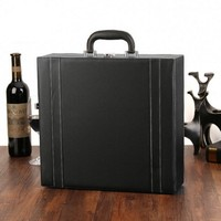 Faux Leather PU Champagne Wine Vodka GIft Box Leather wooden whisky Packaging Single Wine Bottle Box