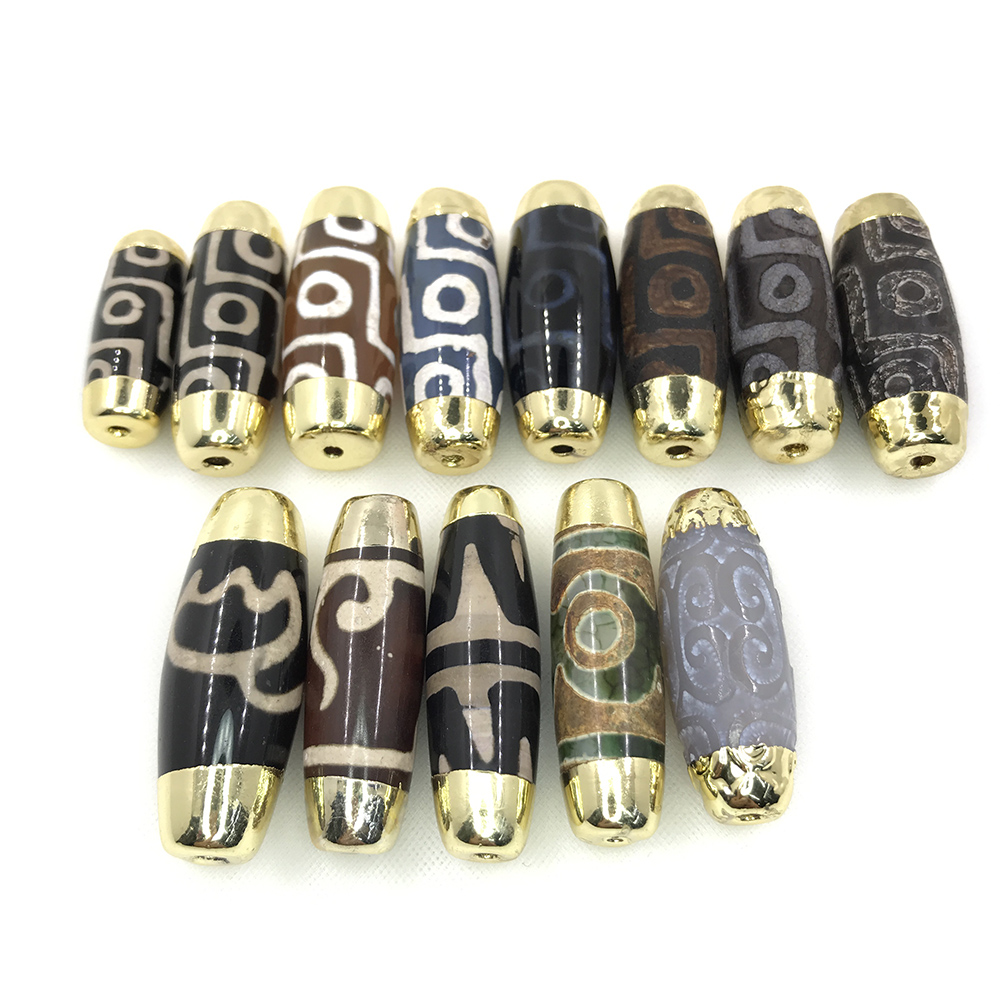 2020 Hot Sale Dzi Eye Tibetan Tibet Agate Drum Barrel Beads with Gold Tips