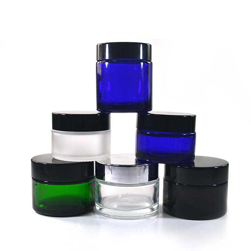 New product 5g 10g 15g 20g 30g 50g 100g clear amber blue green matte frosted black coloured round pots glass cosmetic cream jars