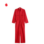 OEM wholesale fr cotton protective red coverall with brass zipper