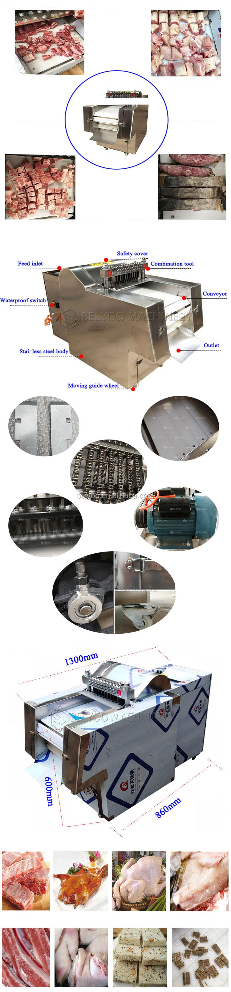 Commercial beef goat pork chicken meat cutting slicing machine
